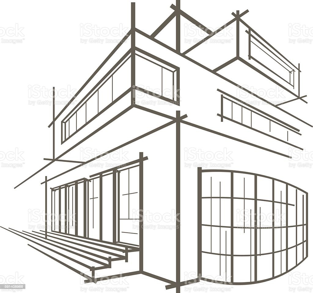Architectural Linear Sketch Modern Building On White Background Stock Vector Art U0026 More Images ...