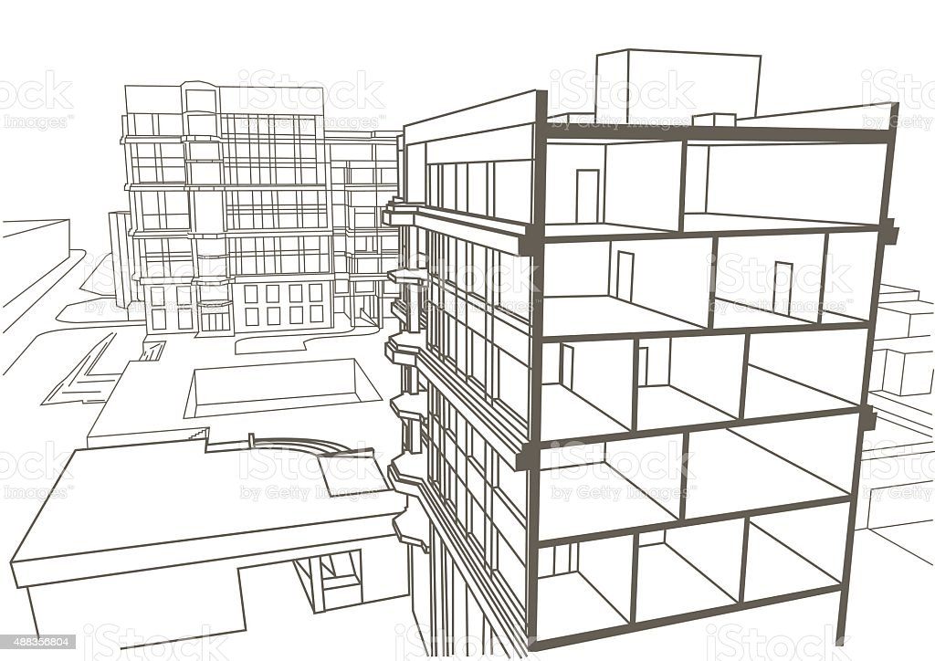 Architectural linear sketch multistory apartment building for Apartment structural plans