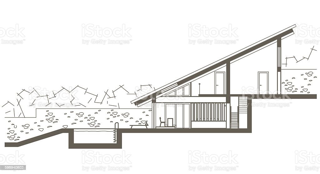 Architectural linear sketch two level house with for Swimming pool sketch