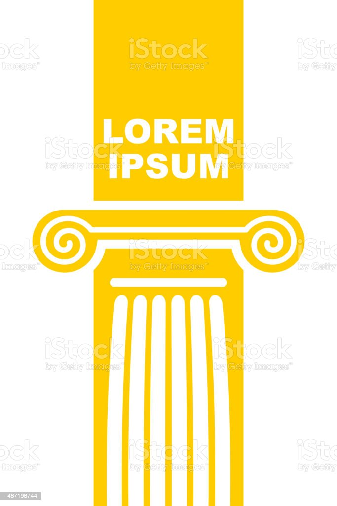 Architectural logo. Element of Greek columns capital. vector art illustration
