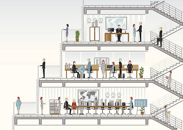 architekturbüro-abschnitt - halbwände stock-grafiken, -clipart, -cartoons und -symbole