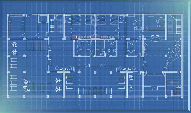 bildbanksillustrationer, clip art samt tecknat material och ikoner med architectural plan blueprint entrance - blueprint