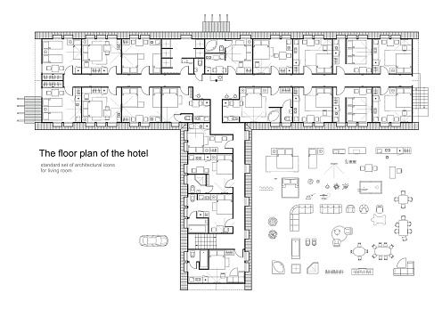 Architectural plan of a hotel. Standard furniture symbols set.