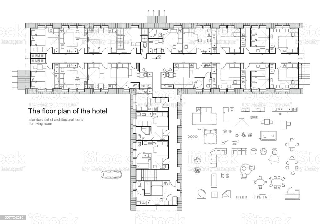 Architectural plan of a hotel. Standard furniture symbols set. vector art illustration