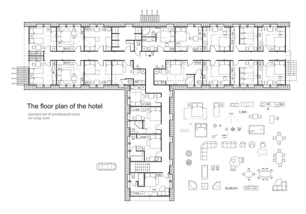 architectural plan of a hotel. standard furniture symbols set. - architecture symbols stock illustrations
