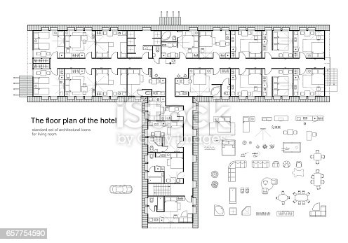 Architectural plan of a hotel standard furniture symbols for Hotel design standards