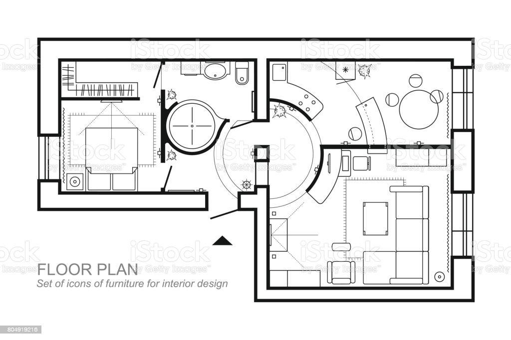 Plan Architectural Dune Maison Mise En Page De La Vue De Dessus