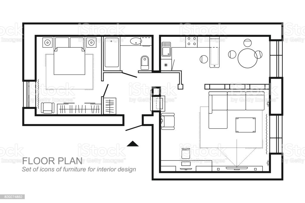 Architectural Plan Of A House Layout Of The Apartment Top View With The Furniture In The Drawing