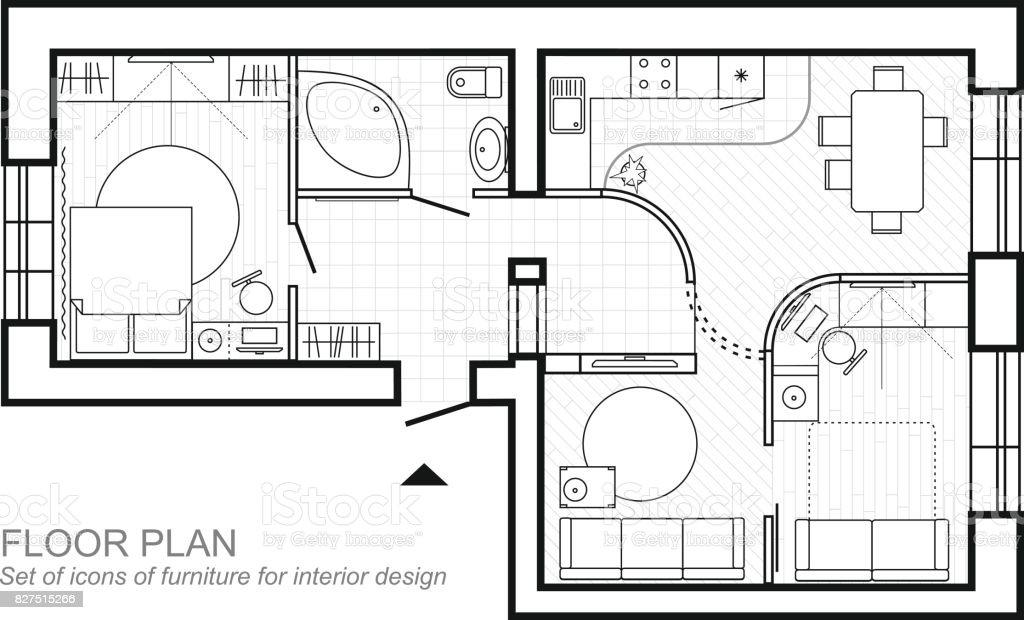 Ilustración de Plano Arquitectónico De Una Casa Diseño De La Vista ...