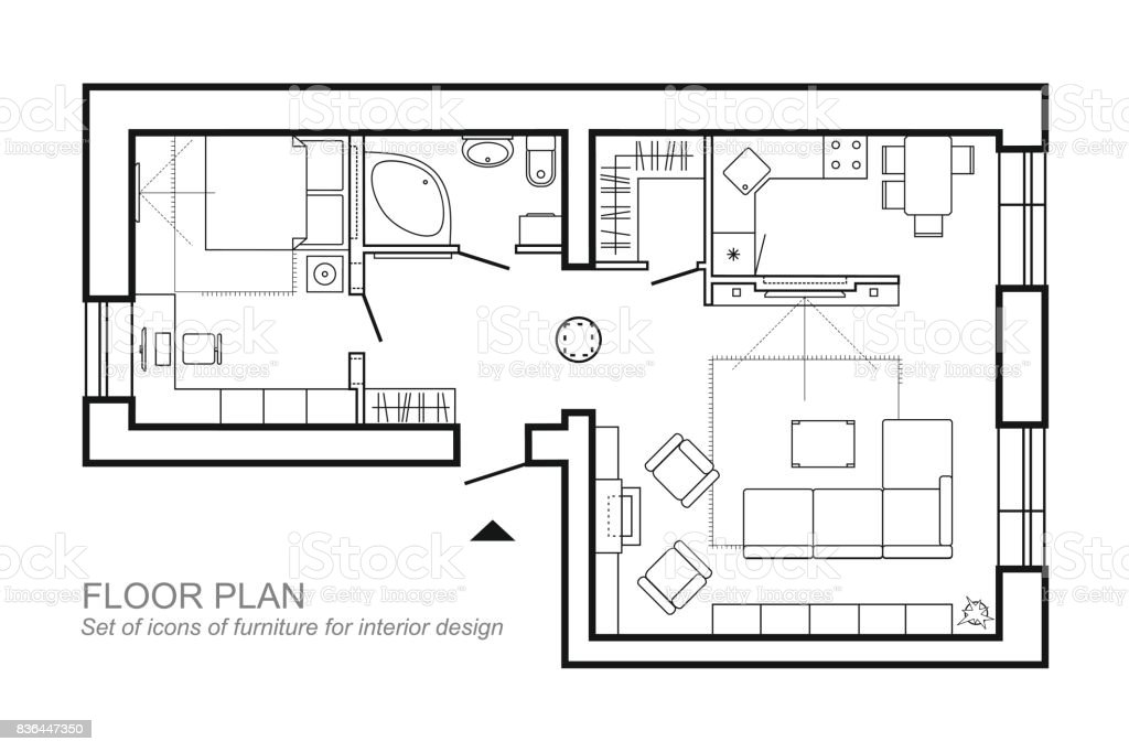 top house blueprint designer. Architectural plan of a house  Layout the apartment top view with furniture in Plan Of A House The Apartment Top View