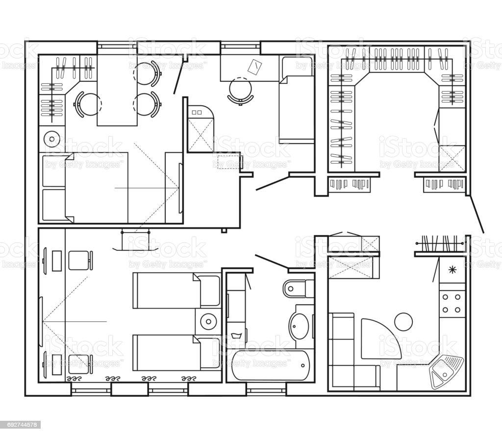 Bauplan eines hauses grundriss der wohnung mit den m beln for Dimensiones arquitectonicas