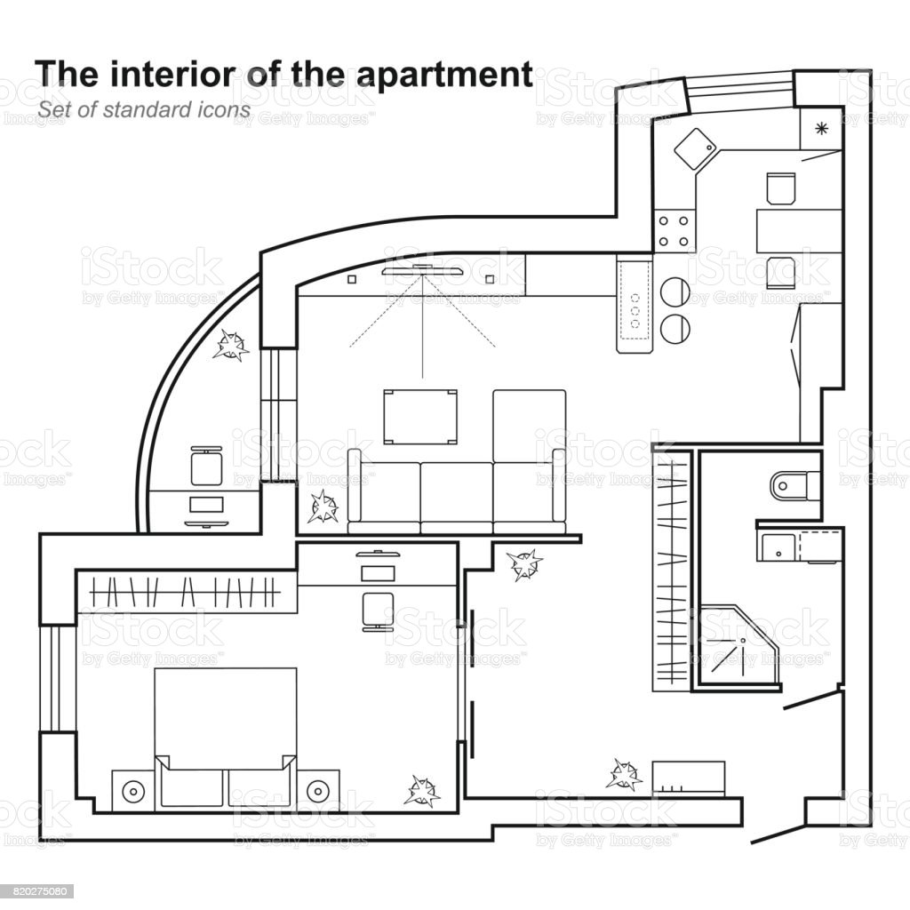 Architectural plan of a house vector floor plan stock for Apartment floor plans vector