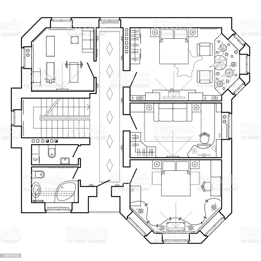 plan architectural dune maison stock vecteur libres de droits libre de droits - Plan Architecturale De Maison