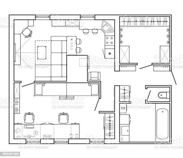 Plan Architectural Dune Maison Vecteurs Libres De Droits Et Plus D Images Vectorielles De Ameublement Istock