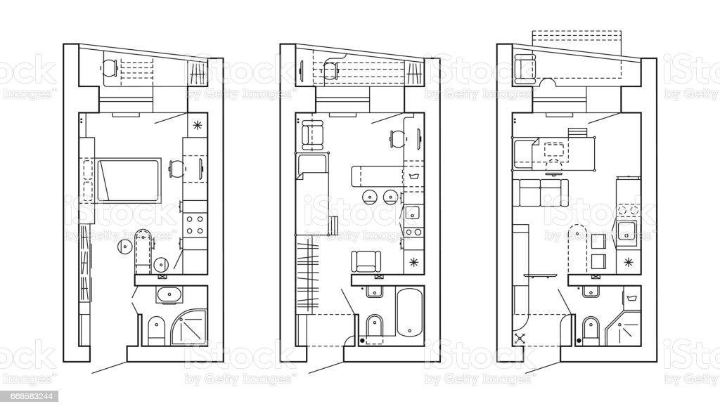 Ilustración De Plano Arquitectónico De Una Casa Y Más Vectores Libres De Derechos De Arquitectura Istock