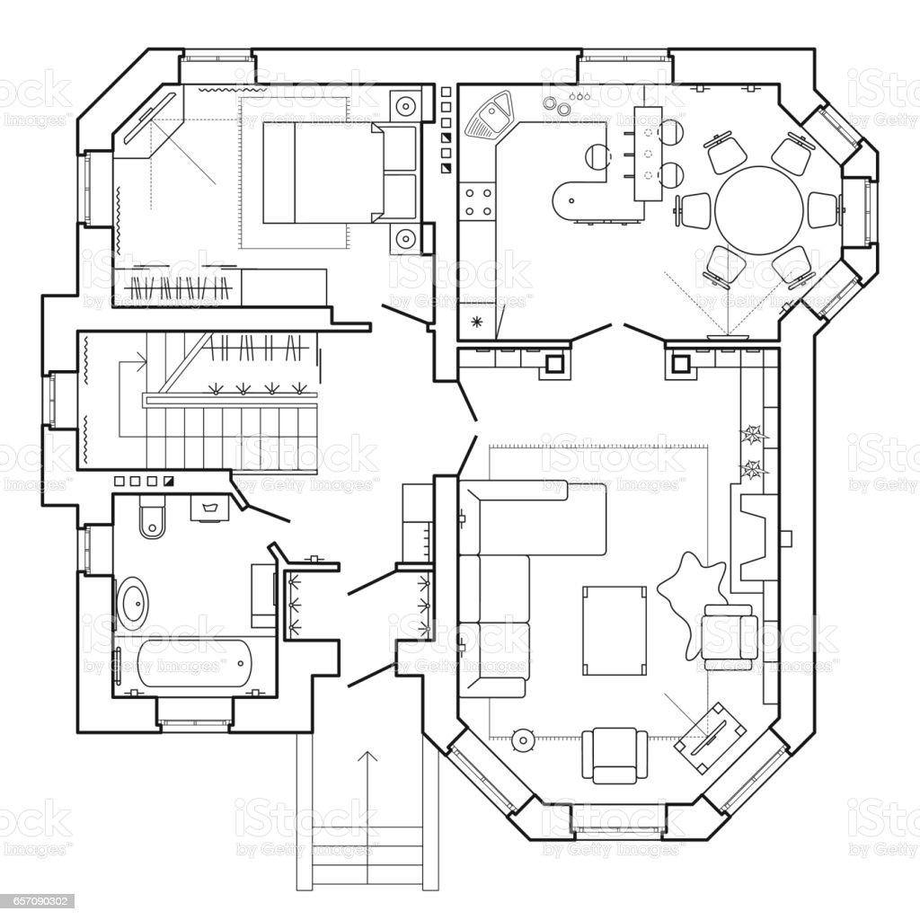 Plan Architectural Dune Maison Avec Les Meubles Cliparts
