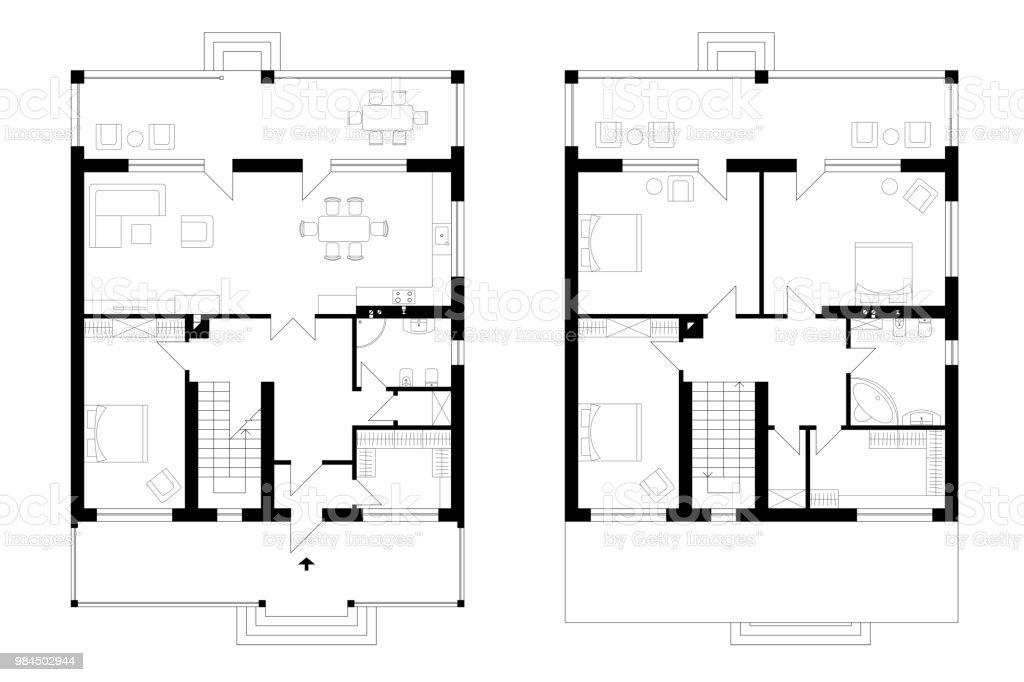 Bir Iki Katli Manor House Bir Teras Ile Mimari Plani Dort Yatak