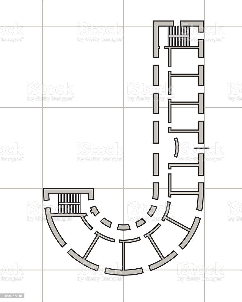 architectural plan of letter J royalty-free stock vector art