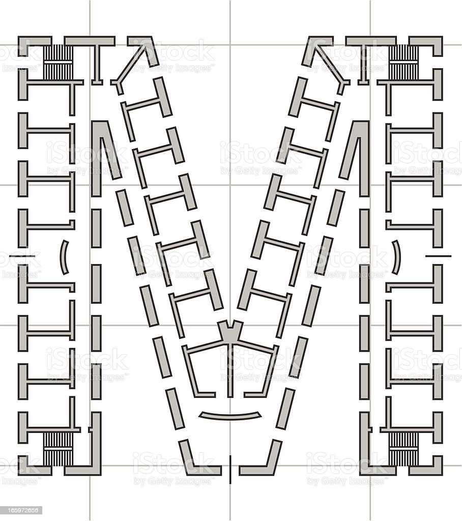architectural plan of letter M royalty-free stock vector art