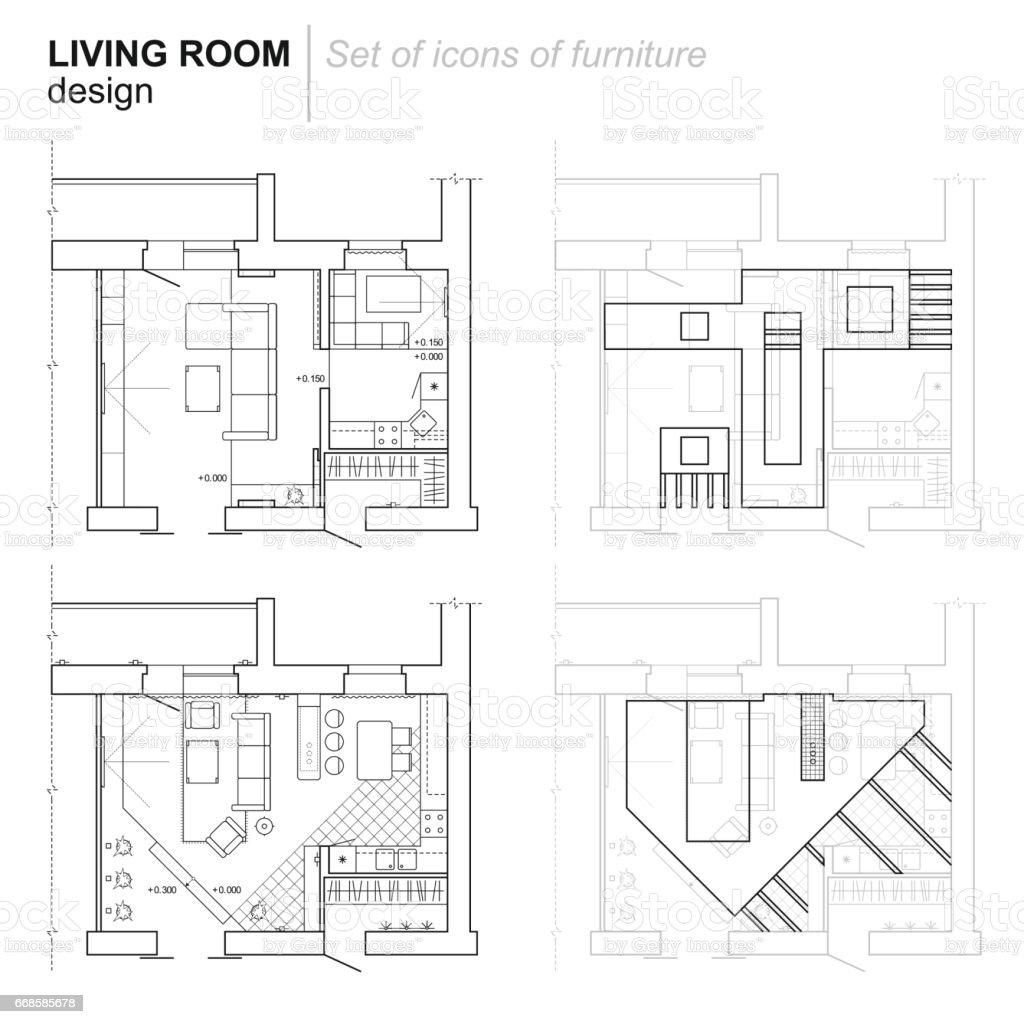 Architekturplan Aus Wohnzimmer Mit Küche Stock Vektor Art und mehr ...
