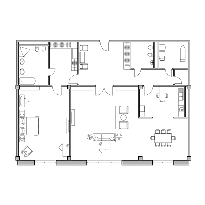 Architectural plan of the apartment. Technical drawing. Top view with a set of furniture and plumbing equipment.