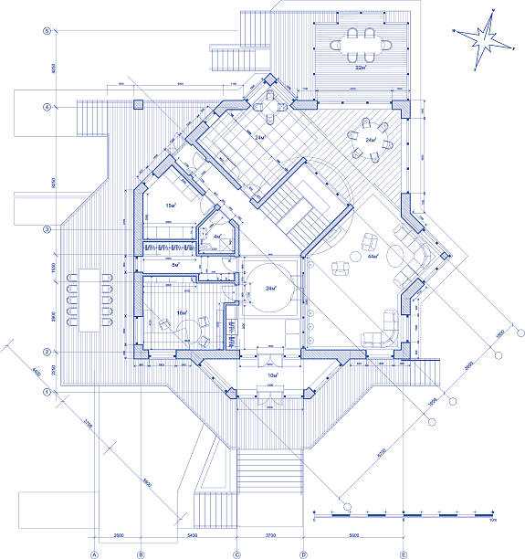 bildbanksillustrationer, clip art samt tecknat material och ikoner med architectural plan of the modern house - blueprint