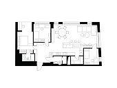 Architectural plan with the furniture. Modern plan of the house.