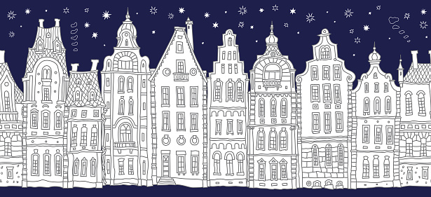 Architectural seamless border pattern. Black and white doodle Fantasy landscape.Fairy tale Dutch houses panorama, old medieval European town street. Hand drawn sketch, travel brochure, web site banner
