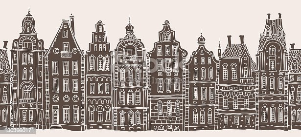 istock Architectural seamless border pattern. Brown and beige doodle Fantasy landscape.Fairy tale Dutch houses panorama, old medieval European town street. Hand drawn sketch, travel brochure, web site banner 1303660171