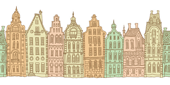 Architectural seamless border pattern. Colorful doodle Fantasy landscape. Fairy tale Dutch houses panorama, old medieval European town street. Hand drawn sketch, travel brochure, web site banner