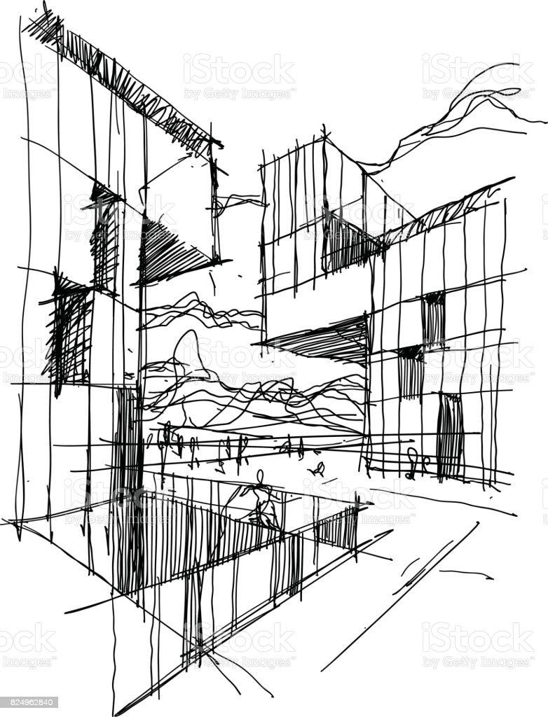 Architektonische Skizze Einer Modernen Abstrakten Architektur Lizenzfreies Stock Vektor Art