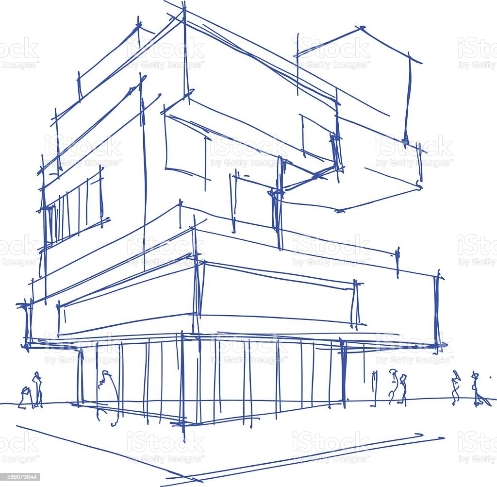 architectural sketch of a modern building vector art illustration