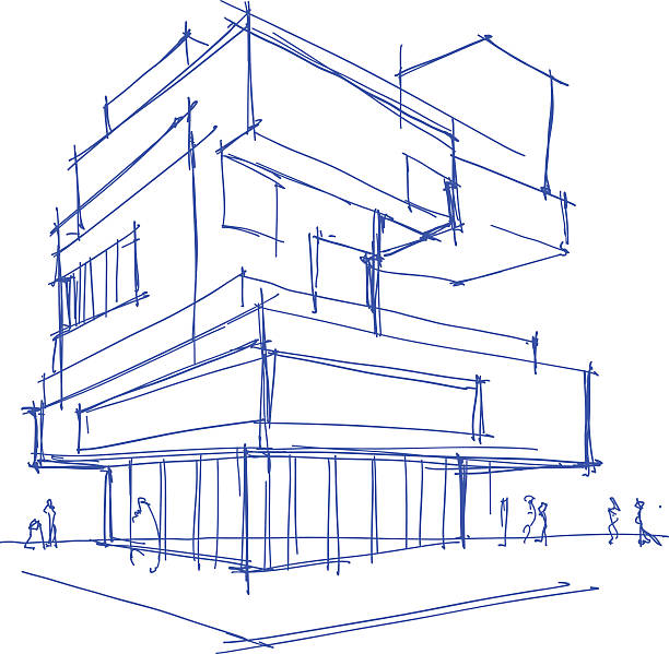 architectural sketch of a modern building - architect stock illustrations, clip art, cartoons, & icons