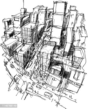 hand drawn architectural sketch of a modern city with high buildings and people in the streets
