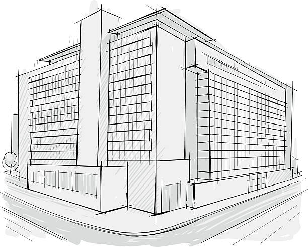 Architectural sketch vector art illustration
