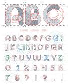 Architectural sketches letters set. Vector blueprint style font alphabet