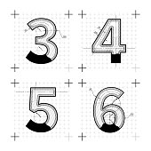 Architectural sketches of 3 4 5 6 letters. Blueprint style font on white.