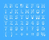 Architectural sketches of latin letters. White blueprint style font on blue
