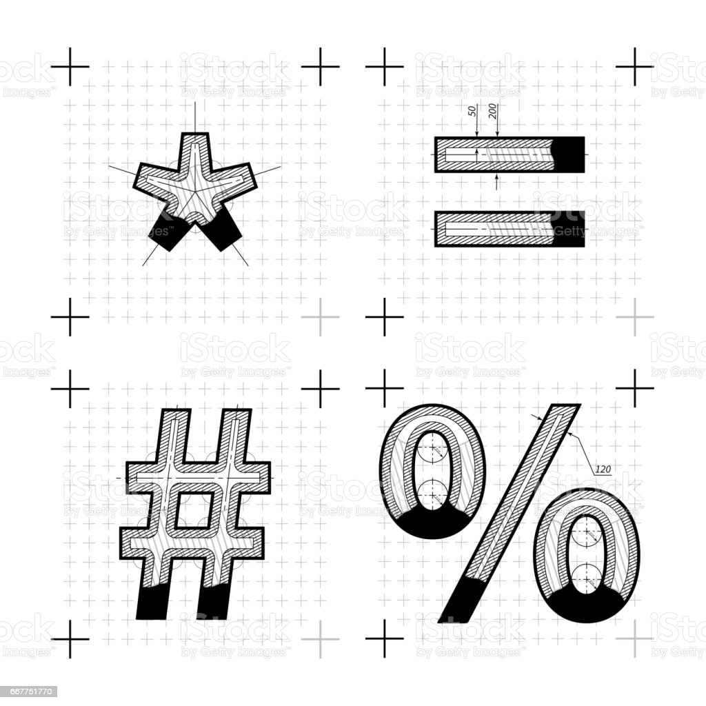 Architectural sketches of special signs. Blueprint style font vector art illustration