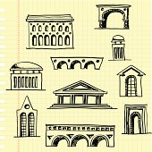 architectural sketchs on a notepaper, pdf,png,ai8 incl.