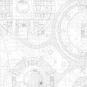 Architectural blueprint. Vector technical drawing on white background.
