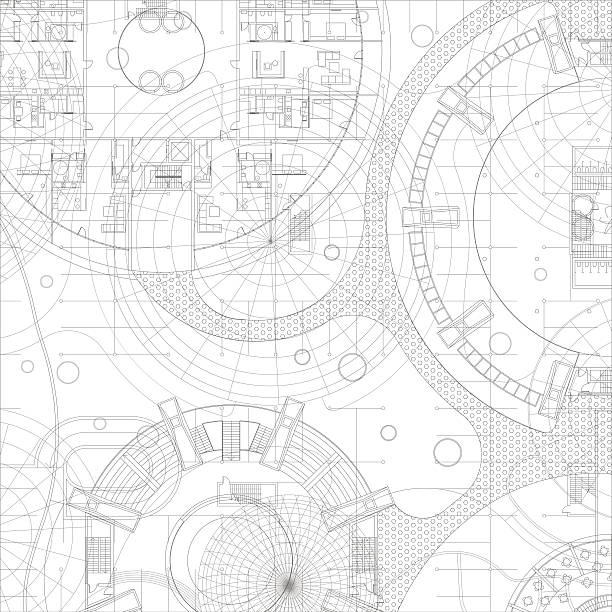 architectural vector blueprint. - abstract architecture stock illustrations