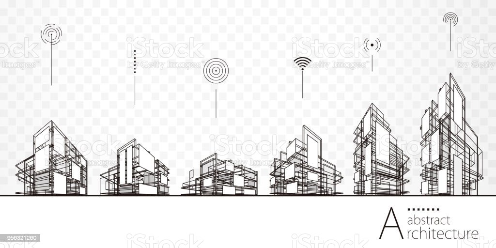 Architecture Abstract Buildings vector art illustration