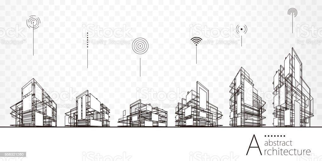 Edifícios de arquitetura abstrata - ilustração de arte em vetor