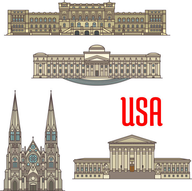 US Architecture and cathedral landmarks US tourist and travel attractions symbols. Detailed vector facades of United States Supreme Court, Library of Congress, Brooklyn Museum, St Patrick Cathedral supreme court stock illustrations