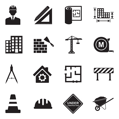 Architecture And Construction Icons. Black Flat Design. Vector Illustration.