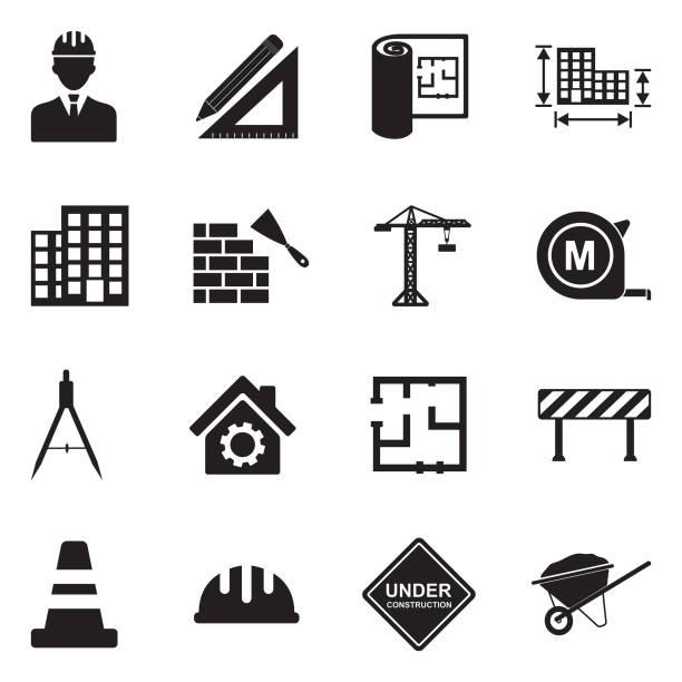 illustrazioni stock, clip art, cartoni animati e icone di tendenza di icone dell'architettura e delle costruzioni. design piatto nero. illustrazione vettoriale. - costruire