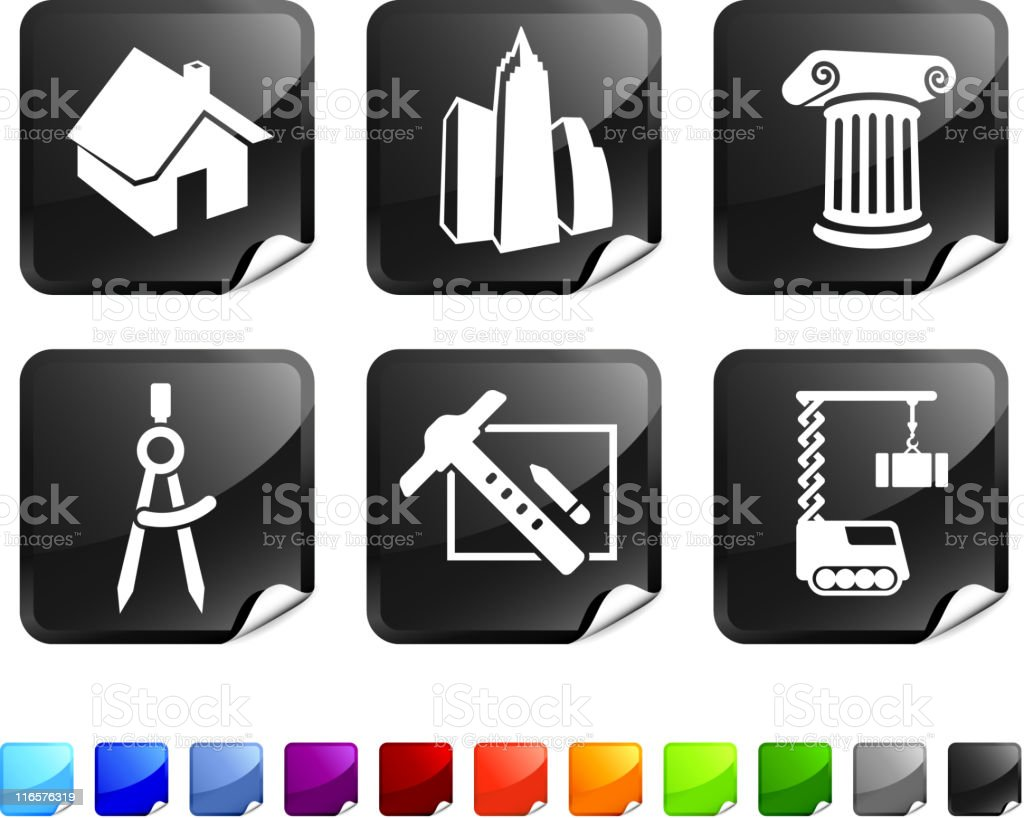 architecture and construction royalty free vector icon set stickers royalty-free architecture and construction royalty free vector icon set stickers stock vector art & more images of architectural column