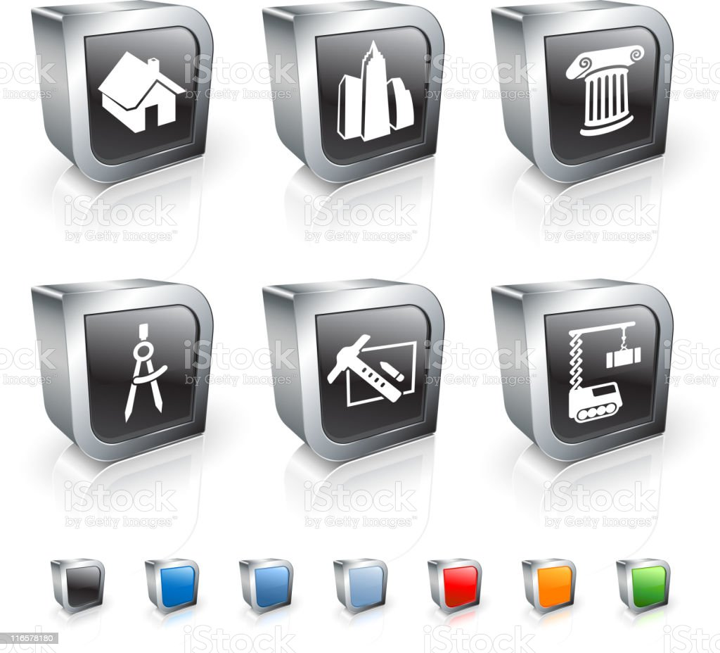 architecture and construction royalty free vector icon set royalty-free stock vector art