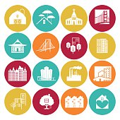 Architecture And Engineering icon Set On a flat color round base. The icons are different for each button; there is a bridge, buildings, a temple, a building with trees, a treehouse, a house with a heart, a factory, and a set of townhouses.